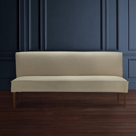 slipcovered bench fitzgerald slipcovered bench linen williams sonoma