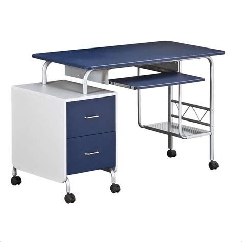 blue student desk techni mobili wood student blue silver computer desk ebay