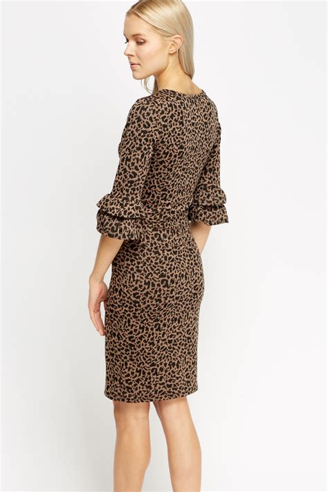 Print Sleeve Dress flare sleeve animal print dress brown black just 163 5