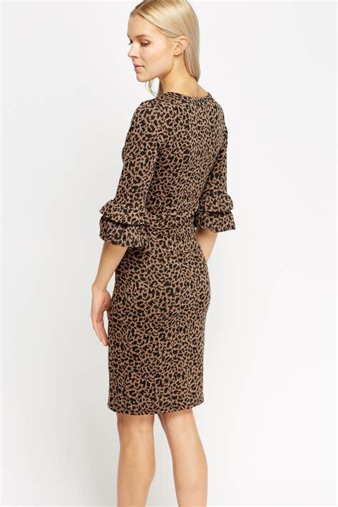 Sleeve Print Dress flare sleeve animal print dress just 163 5