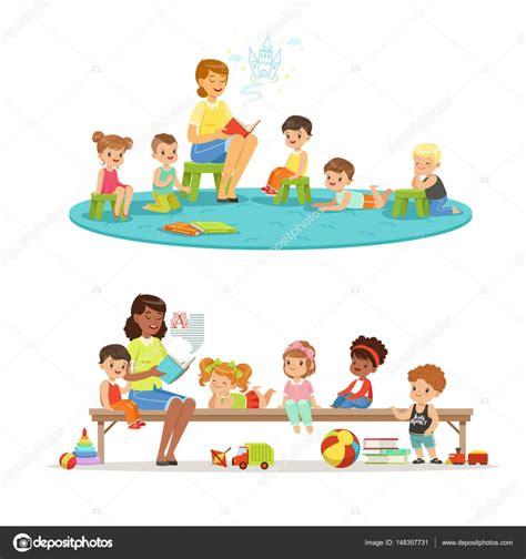 imagenes de jardines de niños animados grupo de ni 241 os de preescolar y maestra profesor de