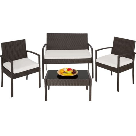 Poly Wicker Outdoor Furniture Poly Rattan Garden Furniture Chairs Bench Table Set