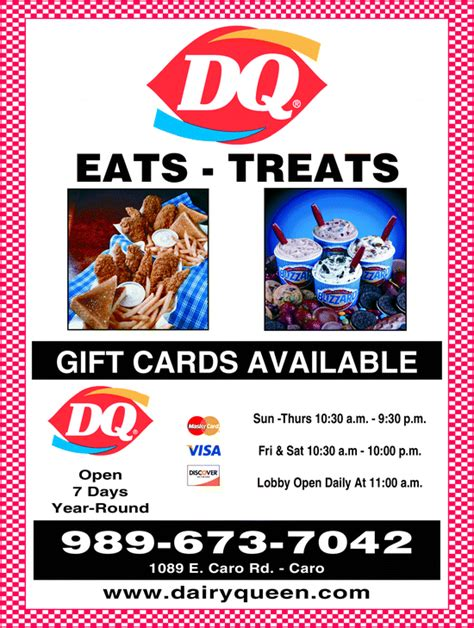 Dairy Queen Gift Card Walmart - dairy queen caro caro mi 48723 yellowbook
