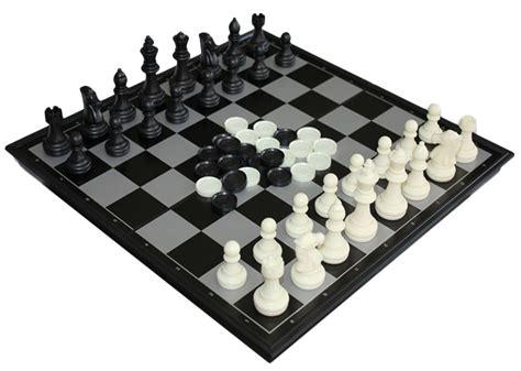permainan papan catur magnet dan checker 2 in 1 folding chessboard black white