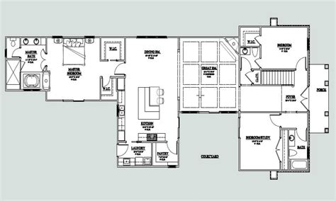 U Shaped Floor Plans by U Shaped One Story House U Shaped House Plan With