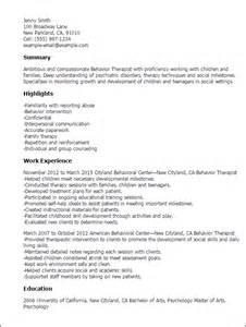 Behavior Therapist Sle Resume by Professional Behavior Therapist Templates To Showcase Your Talent Myperfectresume