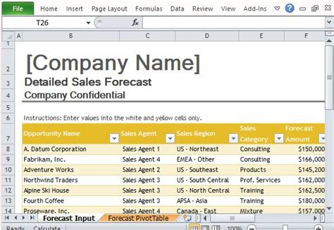 Sales Forecast Template For Excel Sales Forecast Template Excel