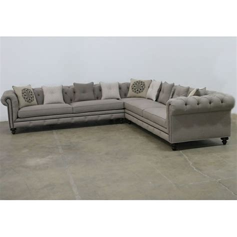 Jar Design Alphonse Grey Tufted Sectional Tufted Nailhead Sofa