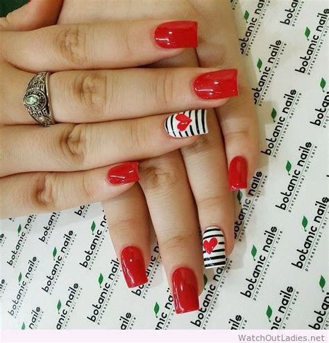 botanic nails red white black lines watch out ladies
