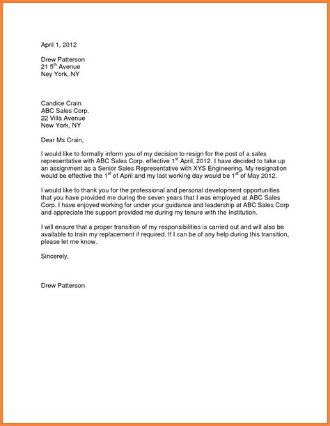 Resignation Letter At Notice 10 Sle For Resignation Letter One Month Notice Notice Letter