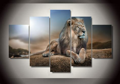 lion decor home framed printed animals lion group painting children s room