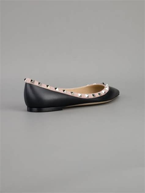 valentino shoes flat valentino studded flat shoe in black lyst