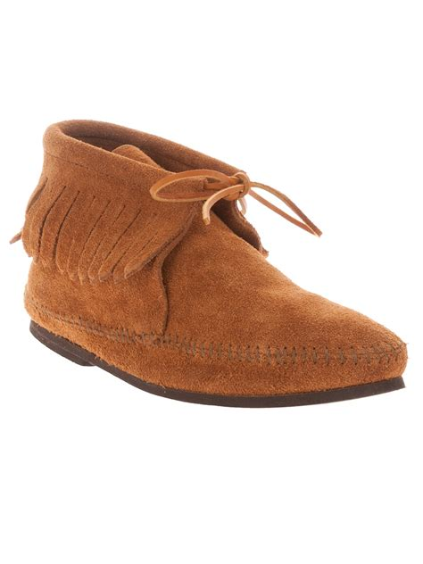 minnetonka boots mens minnetonka suede moccasin boot in brown for lyst