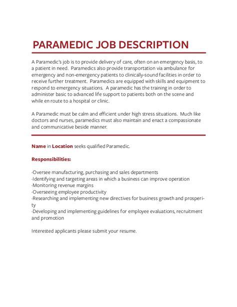 Paramedic Job Description 101 02 03 Emt Paramedic Job Description Vbems Com Job Description Paramedic Description Template