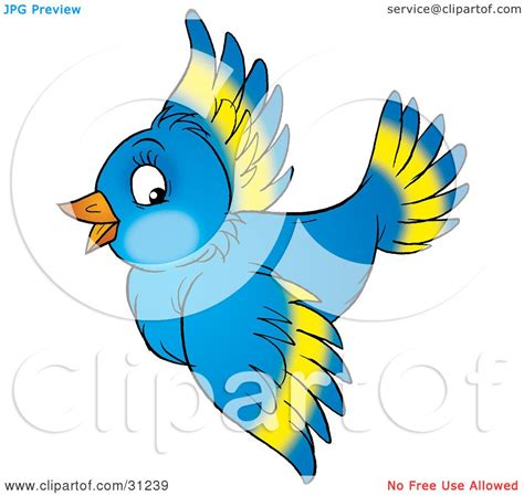 clipart illustration of a happy blue bird with yellow