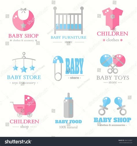 design kartu nama baby shop baby logo collection contemporary baby shop stock vector