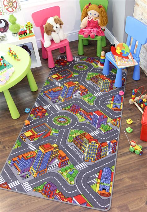 Big City Interactive Fun Roads Play Time Small Large Cheap Cheap Kid Rugs