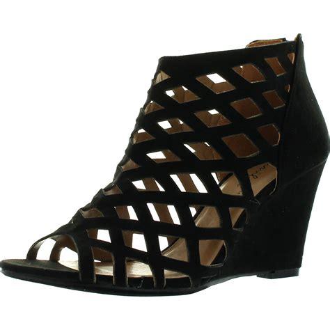 Wedges Sofiya Import 2 bonnibel 2 womens cut out back zip wedge sandals ebay