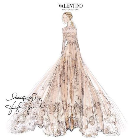 fashion illustration valentino former gucci designer frida giannini wears valentino