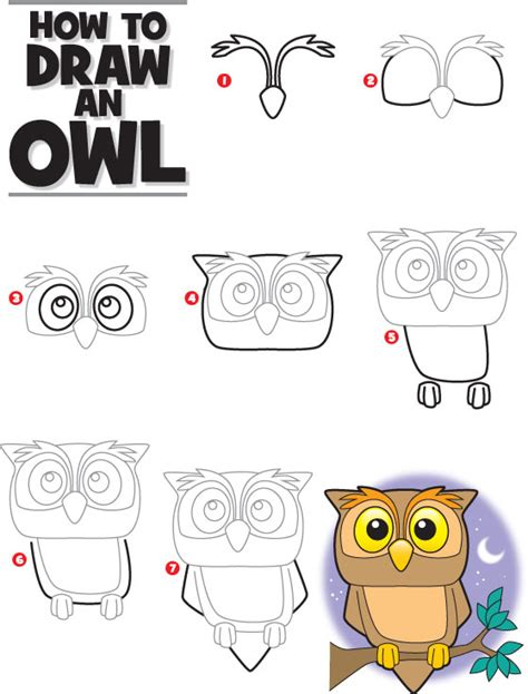 how to draw pdf how to draw an owl kid scoop