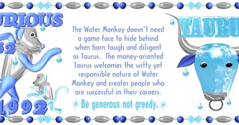 1992 water monkey born taurus is one of 720 designs for