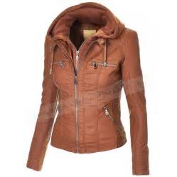Brown leather jacket with hood faux leather hooded jacket womens brown