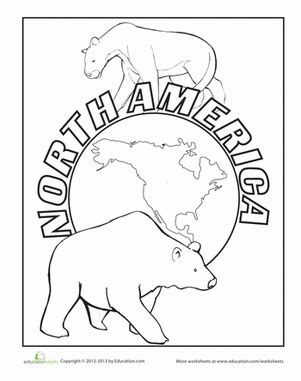coloring page for north america north america worksheet education com