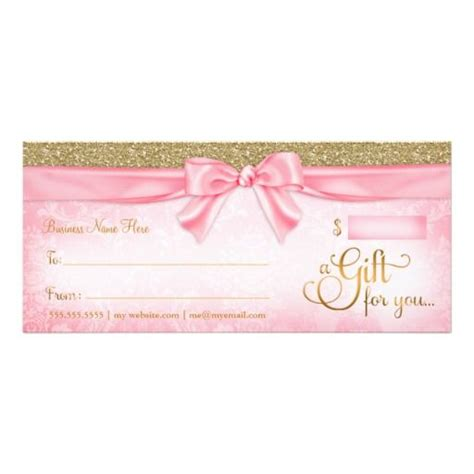 Gift Card Sleeve Template Girly 311 pink faux glitter gift certificate business