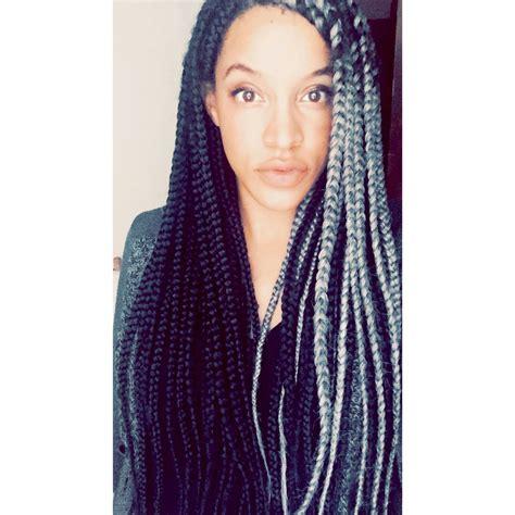 grey box braids grey box braids braids hair and makeup pinterest