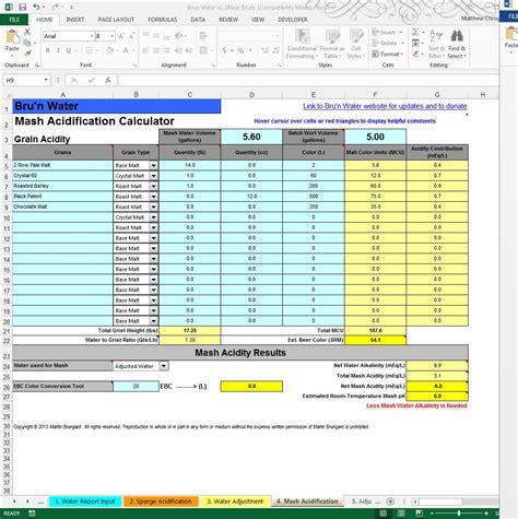 Homebrew Spreadsheet by Bru N Water Free Spreadsheet 1 16 Walkthrough