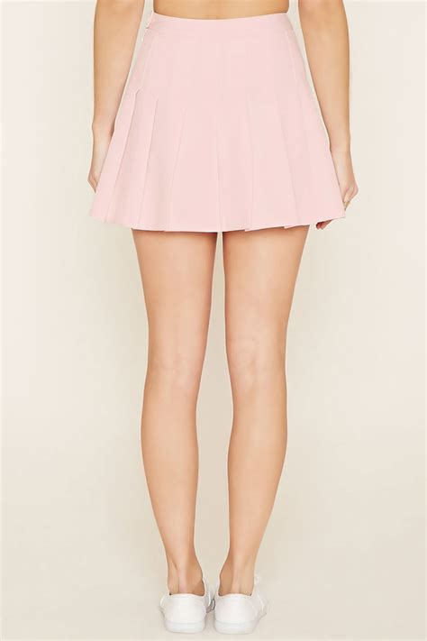 light pink pleated skirt forever 21 pleated mini skirt in blue lyst