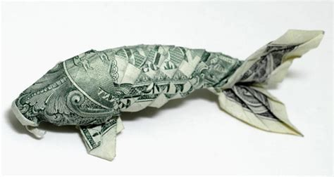 Single Dollar Bill Origami - fish a idea on paper sea