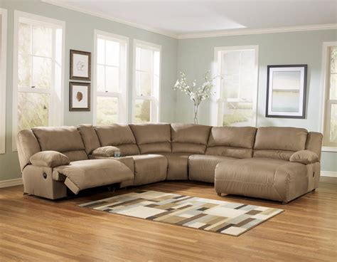 reclining chaise sectional buy hogan mocha 6pc reclining sectional chaise by