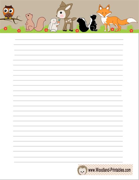 Printable Animal Lined Paper | free printable woodland writing paper