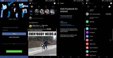 facebook themes html dark facebook app and messenger for android facebook