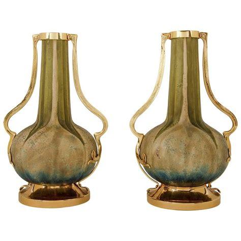 antique hora pottery paul dachsel attr vase pair