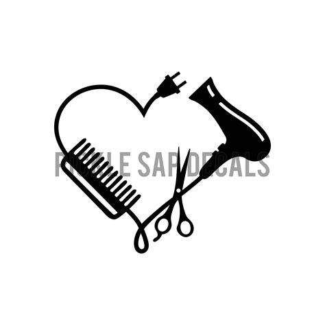 Hair Dryer Logo hairdresser stylist cosmetic scissors comb dryer