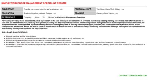 Workforce Specialist Cover Letter by Workforce Management Specialist Cover Letter Resume 106113