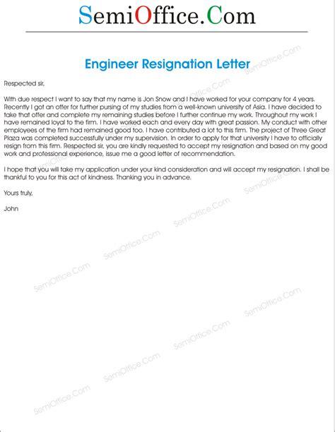 Resignation Letter Engineer Sle Resign Letter For Engineer