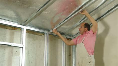 Gypsum Ceiling Installation by Installation Of Gypsum Plasterboard Ceilings Stock Footage