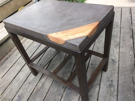 concrete and metal coffee table concrete coffee table with wood inlay and metal base