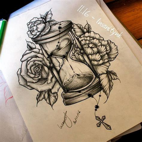 hourglass rose tattoo collection of 25 roses and hourglass designs
