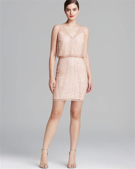 beaded blouson dress papell dress v neck beaded blouson in lyst