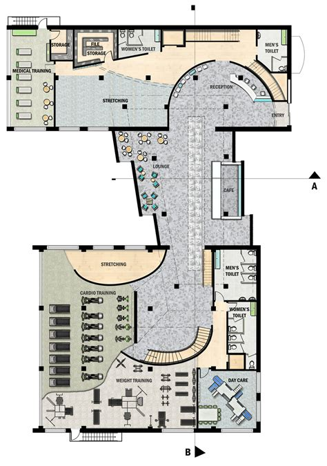 fitness center floor plan flex fitness center jillian ur archinect