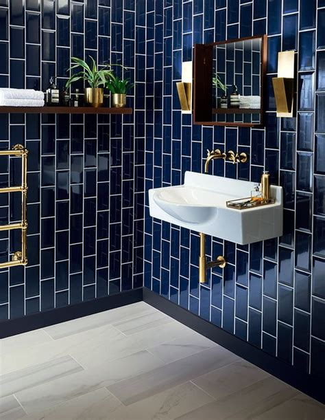 navy bathroom tiles 30 timeless and chic glossy tile decor ideas digsdigs