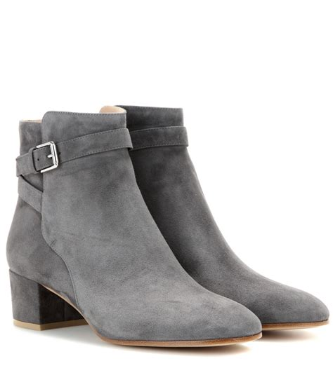gray boots gianvito suede ankle boots in gray lyst