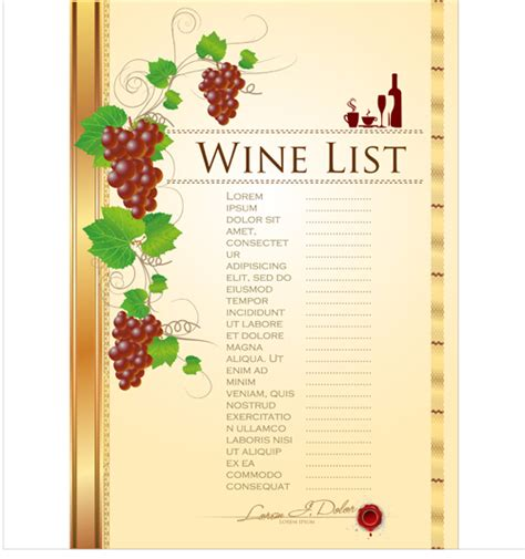 wine list template free free wine list template