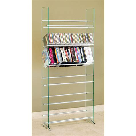 dvd racks transdeco steel and glass 336 cd dvd storage rack td019