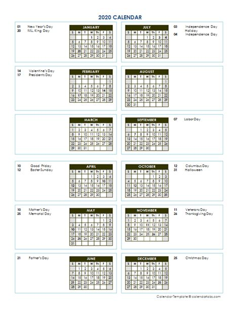 annual calendar vertical template  printable templates