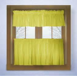 Yellow Kitchen Curtains Valances Lemon Bright Yellow Color Tier Kitchen Curtain Two Panel Set
